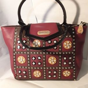 Nicole Lee Studded Tote/ Briefcase 13 x 12 x 4